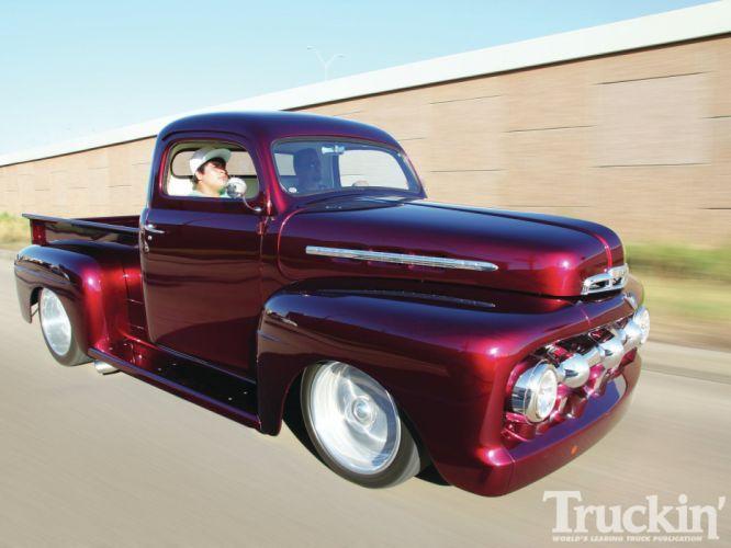 1951 Ford F100 pickup retro f-1 hot rod rods retro r wallpaper