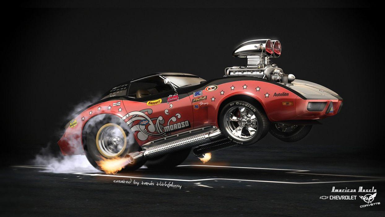 hot rod rods drag racing race chevrolet corvette   f wallpaper