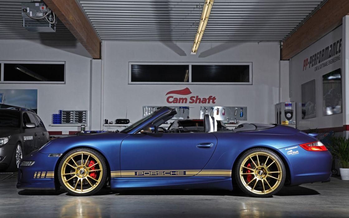 2014 Cam-Shaft Porsche 997 Carrera Cabrio Germany Convertible Spyder Car Vehicle Tunning Wheel Sport Supercar Sportcar Blue Supersport 4000x2500 (11) wallpaper