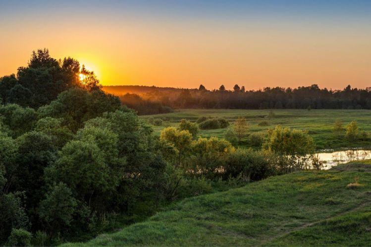 landscape nature dawn morning river trees grass wallpaper