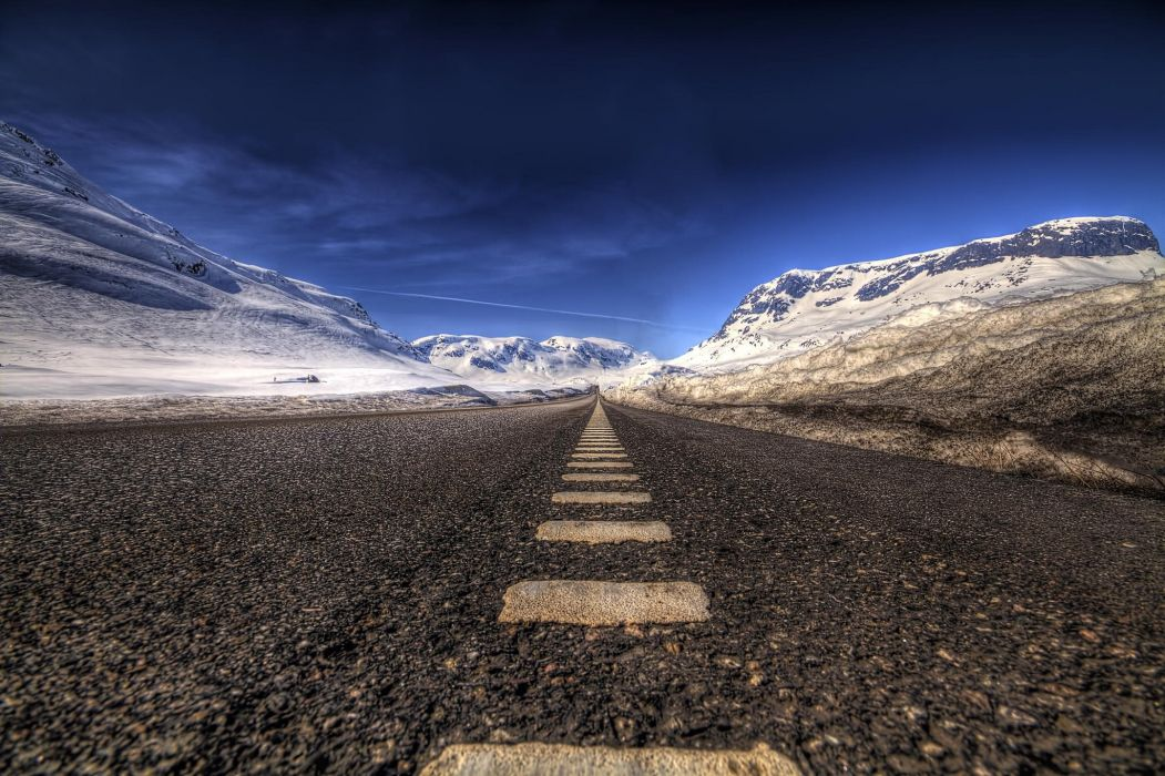 landscape mountain road asphalt snow hdr wallpaper
