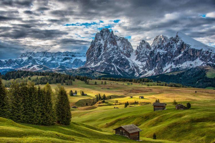 pariroda mountains trees clouds Dolomites Alps Alpe di Siusi Italy wallpaper