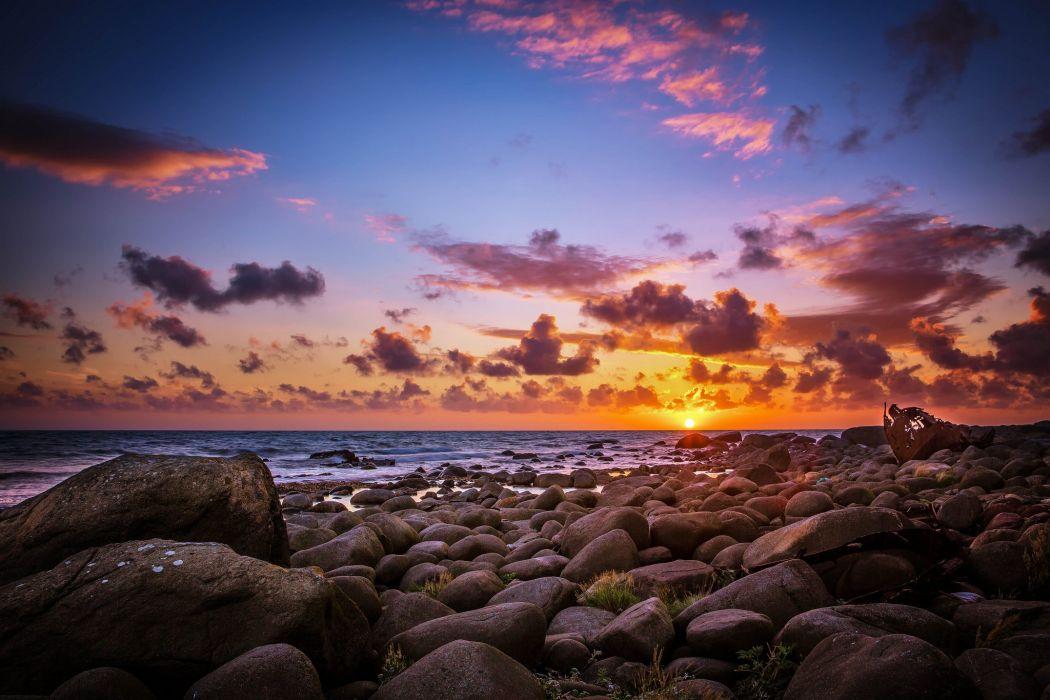 sun morning sunrise beach stones sea wallpaper
