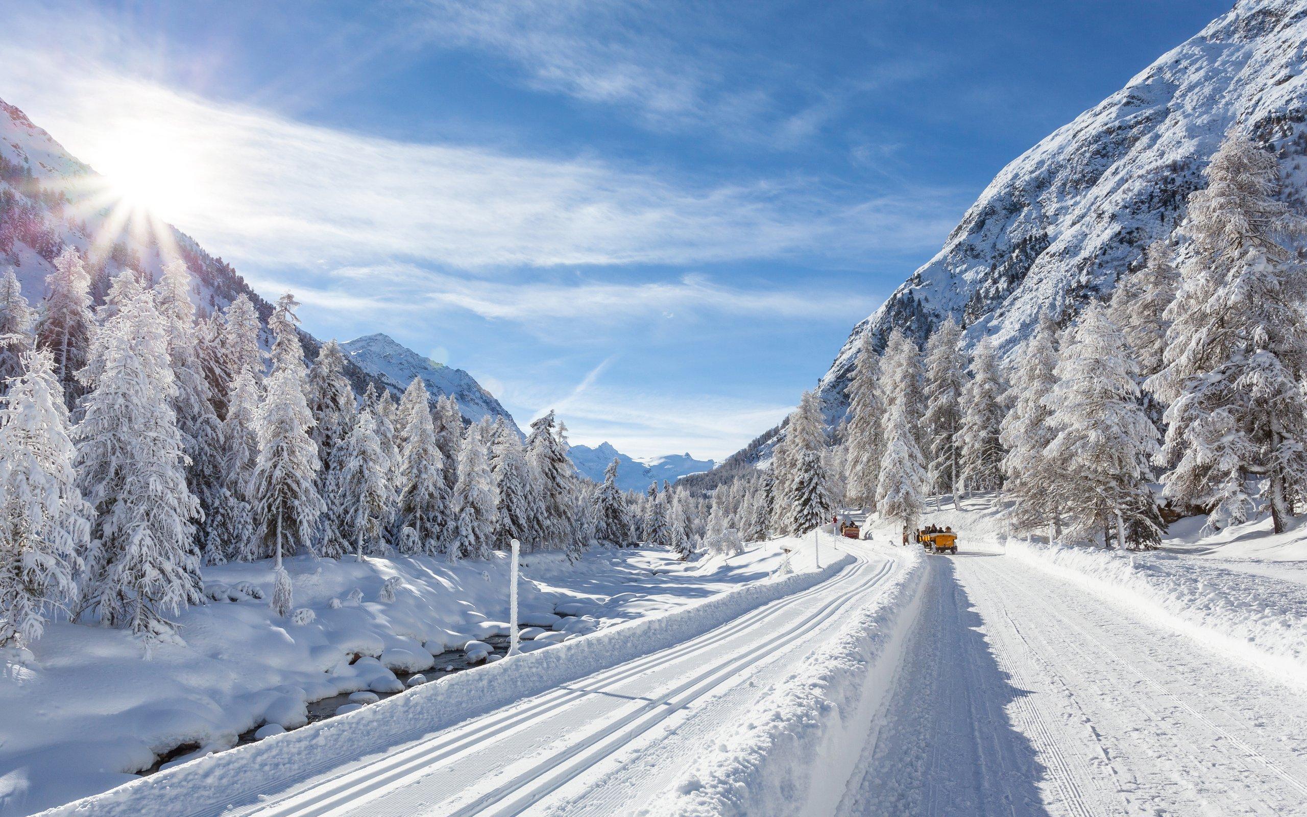 Trees Hills Winter Snow Road Car Wallpaper 2560x1600
