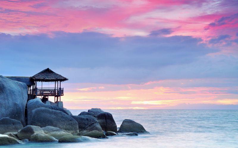 landscape rocks sea sunset wallpaper