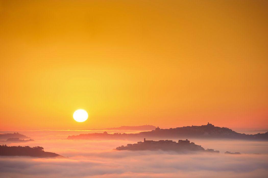sun make mist morning italy fog wallpaper