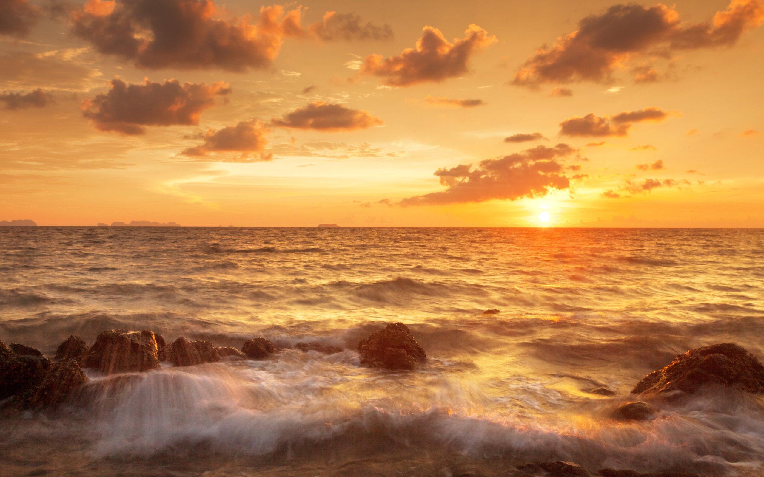 sand sea sky beautiful tropical sunset scene clouds shore