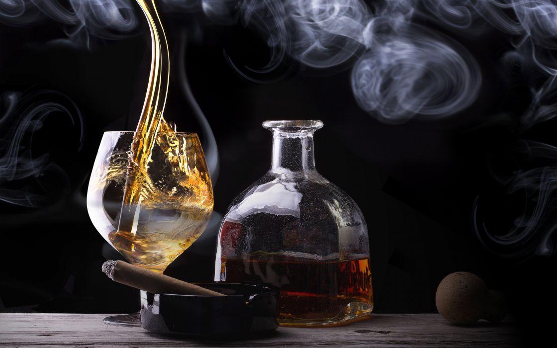 cigar whiskey glass bottle smoke alcohol  f wallpaper