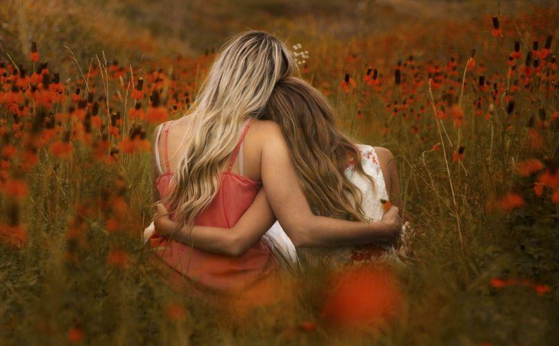 portrait in orange flowers field girl mood f wallpaper
