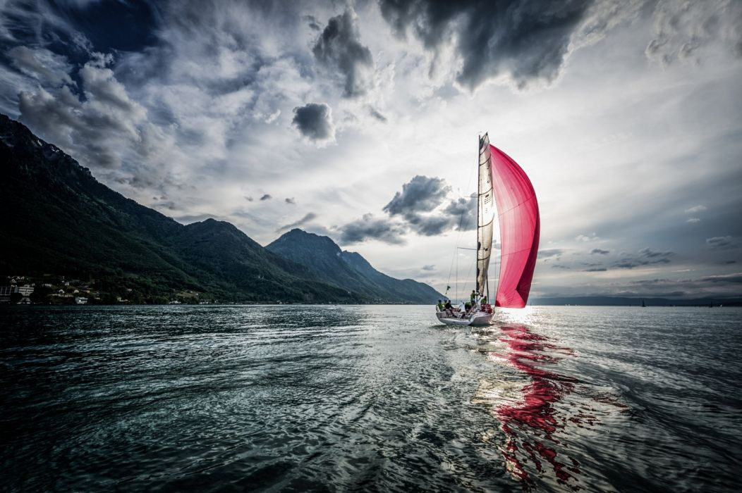 wave sail scarlet boat sailing wallpaper