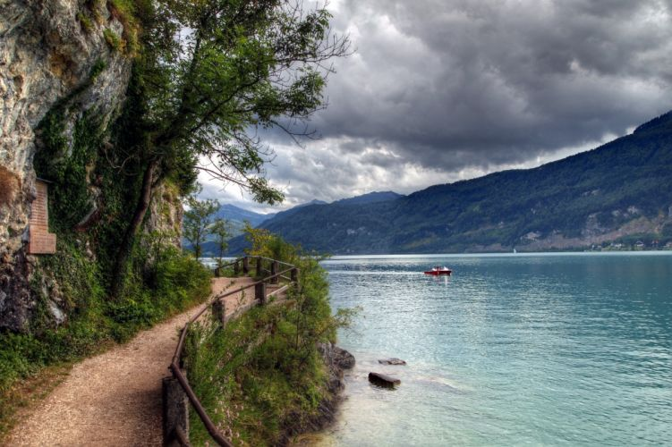 Austria Lake Mountains Wolfgangsee Nature wallpaper