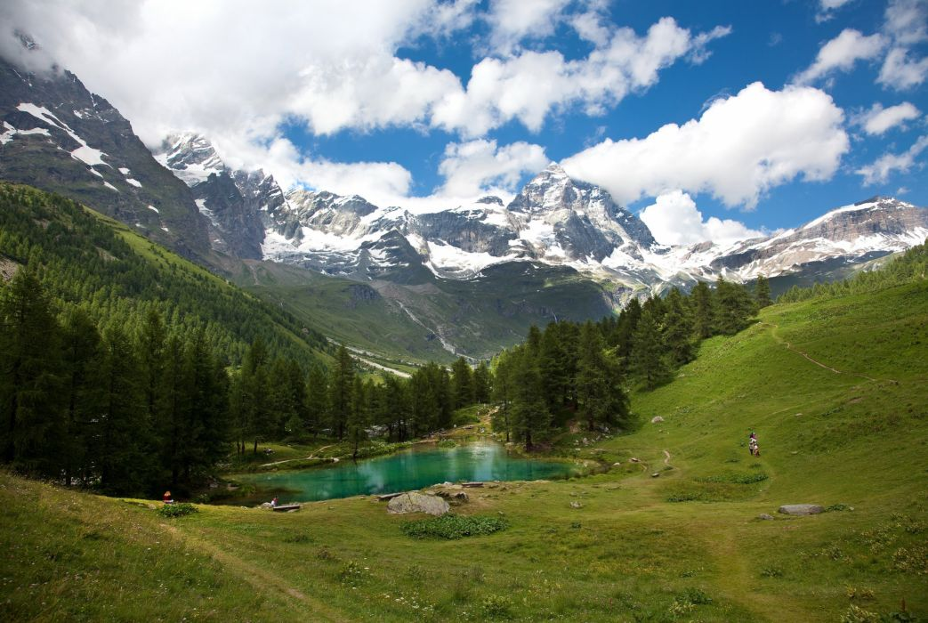 Austria Mountains Forests Lake Sky Scenery Clouds Alps Nature wallpaper