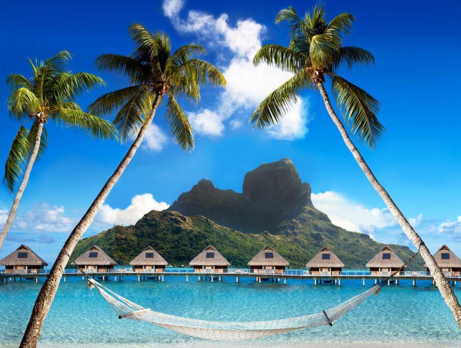 French Polynesia Tropics Mountains Sky Sea Bora-Bora Bungalow Palma Nature wallpaper