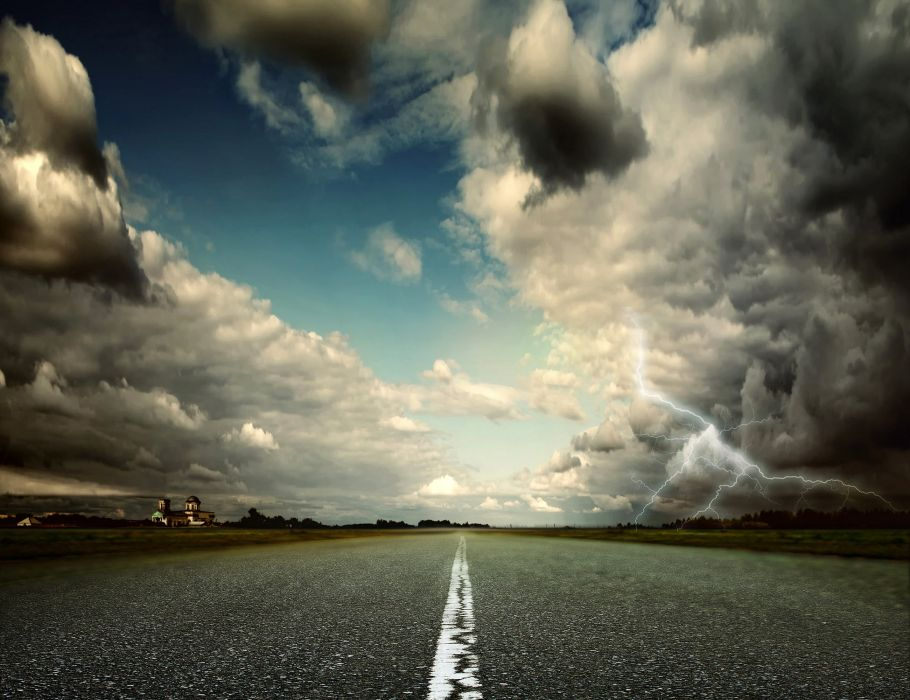 Road Sky Clouds Lightning Asphalt Nature storm lightning wallpaper