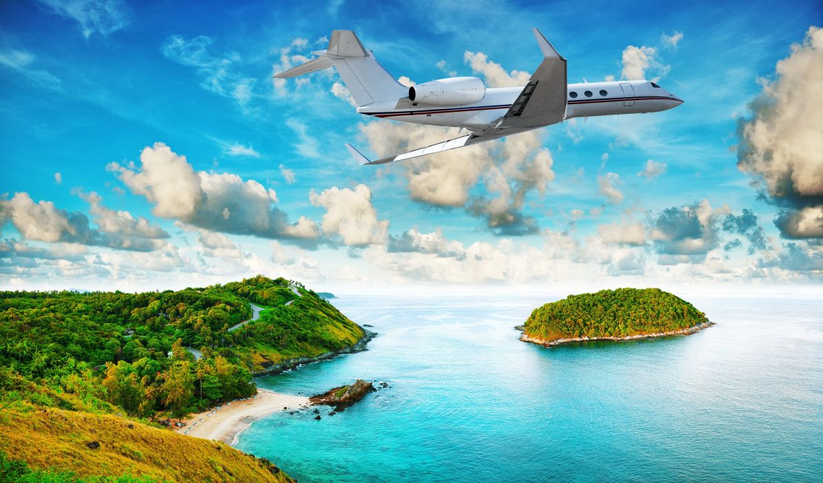 Tropics French Polynesia Island Sky Airplane Passenger Airplanes Clouds Nature jet airliner wallpaper