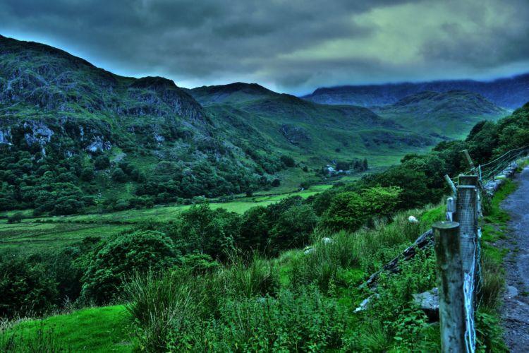 United Kingdom Parks Mountains Snowdonia Shrubs Nature wallpaper