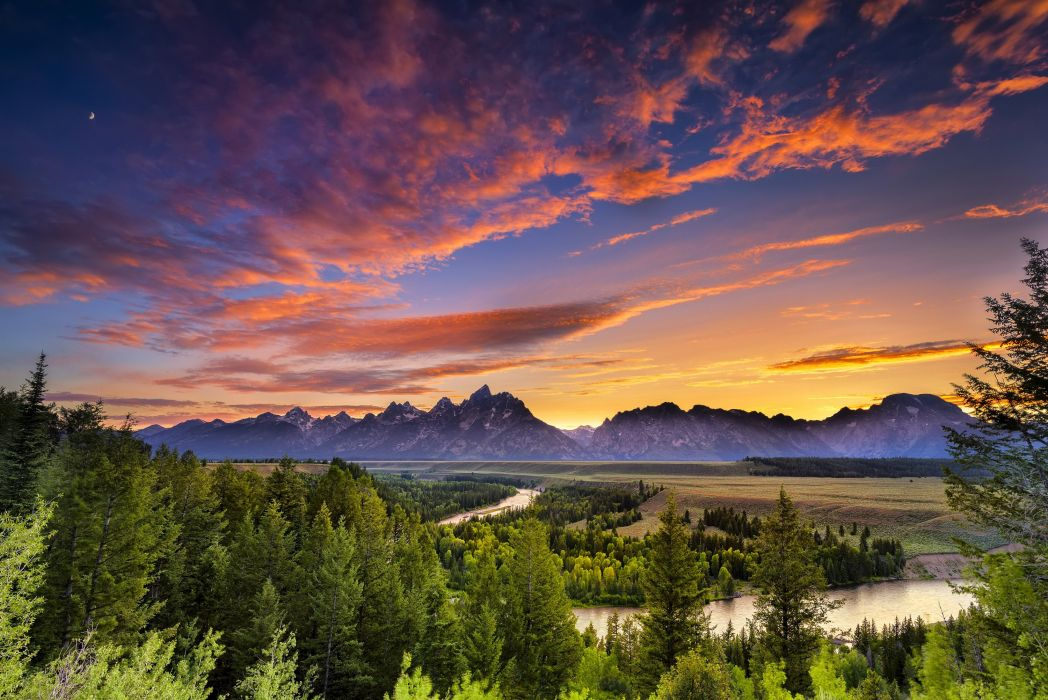 USA Parks Rivers Forests Sky Scenery Wyoming Grand Teton Clouds Nature wallpaper