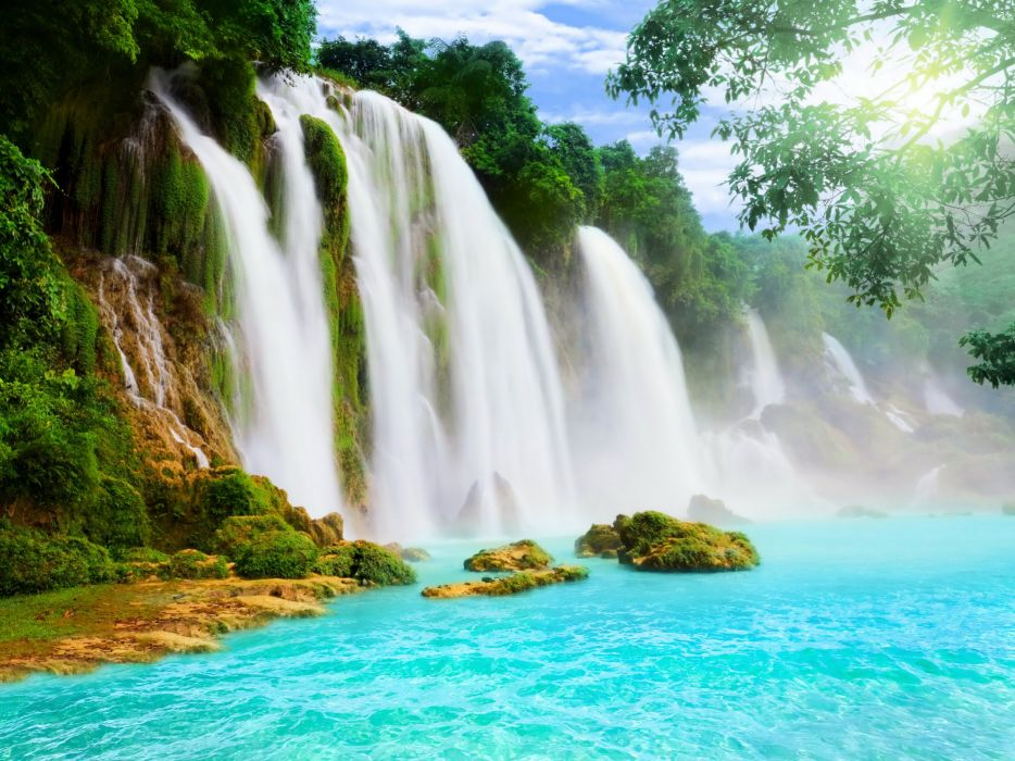 Waterfalls River Nature wallpaper