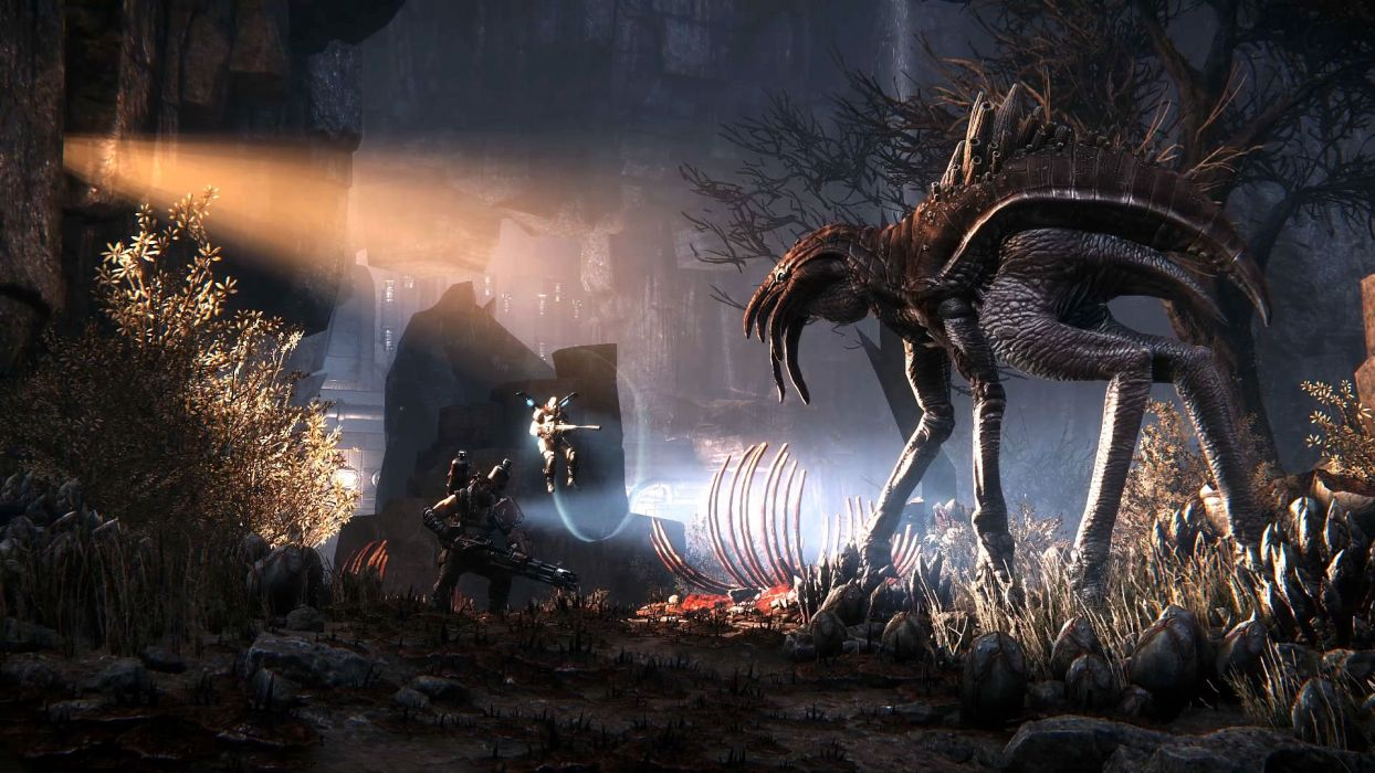 EVOLVE co-op shooter sci-fi fantasy fighting (1) wallpaper