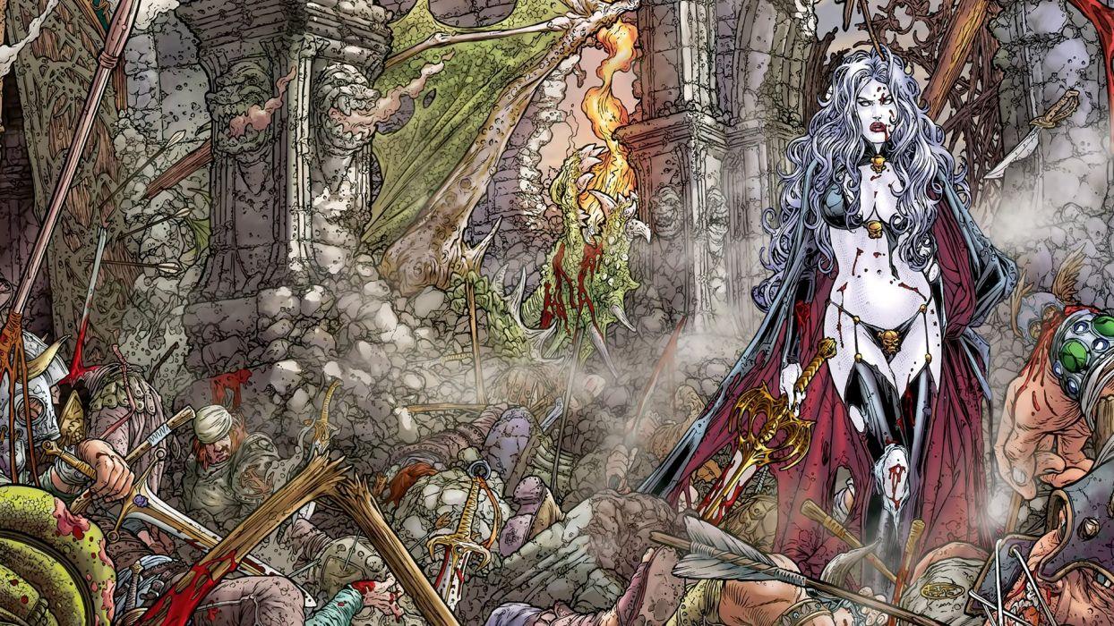 LADY DEATH horror dark demon satan goddess fantasy sexy babe (6) wallpaper