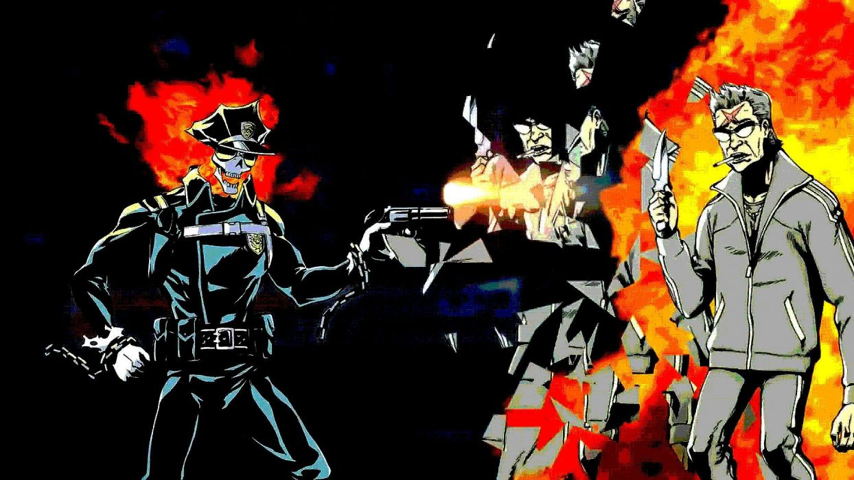 INFERNO COP anime cartoon animation skull dark comedy action (3) wallpaper