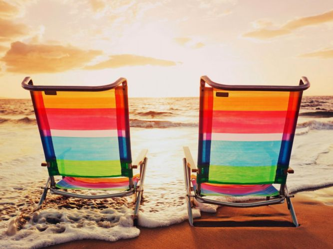 Beach Chairs Sea Wave wallpapers wallpaper
