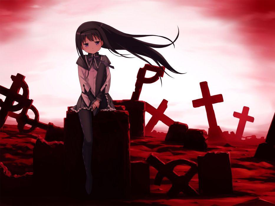 akemi homura black hair cross mahou shoujo madoka magica red tucana wallpaper