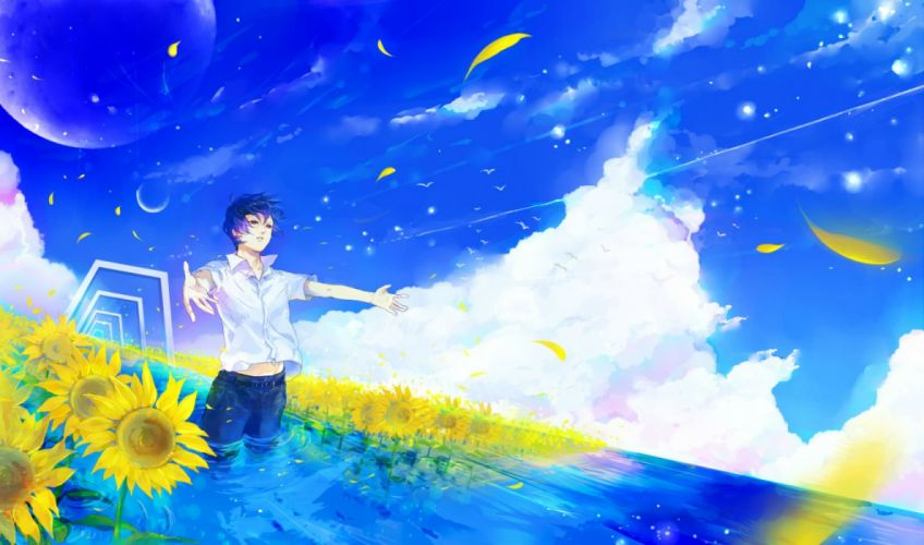 all male clouds flowers male moon original petals shiroyayoi sky sunflower water wallpaper