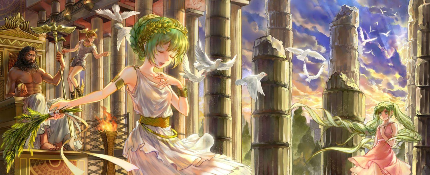 animal bird dress fenbei (relear) green hair hatsune miku vocaloid wallpaper