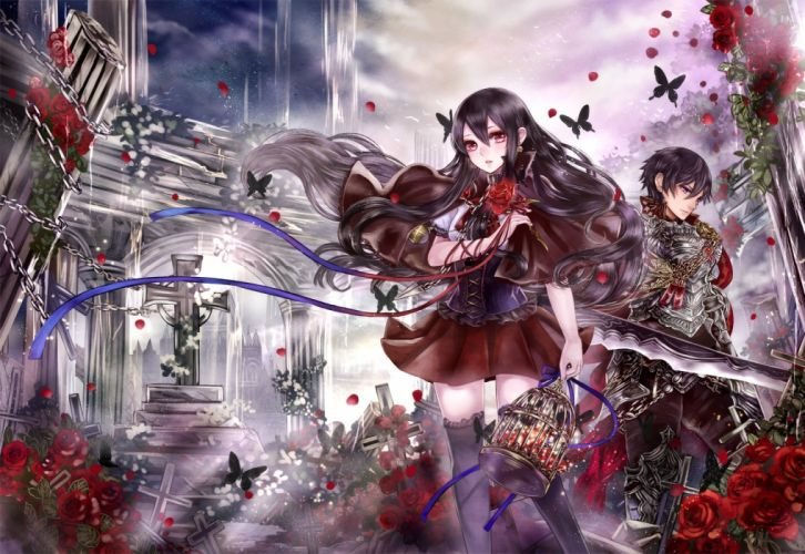 armor black hair butterfly cage chain cross flowers haruci male original petals red eyes rose wallpaper