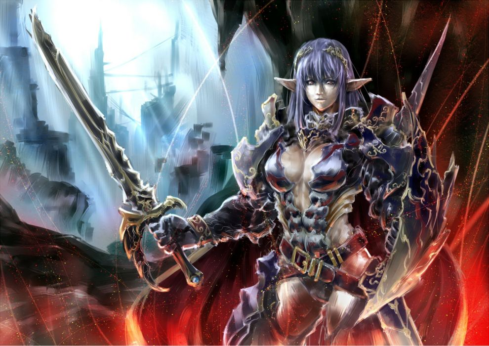 armor original pandaraion (kanikani2950) pointed ears sword weapon wallpaper