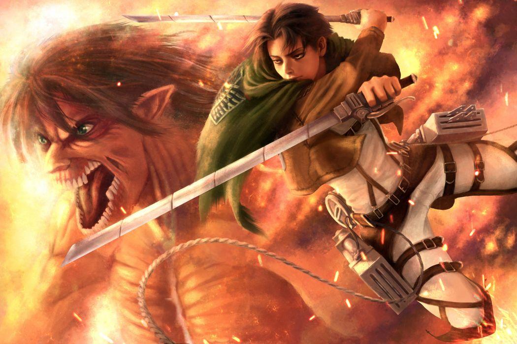 Battles Warriors Monsters Attack on titan Levi Guys Swords Anime wallpaper
