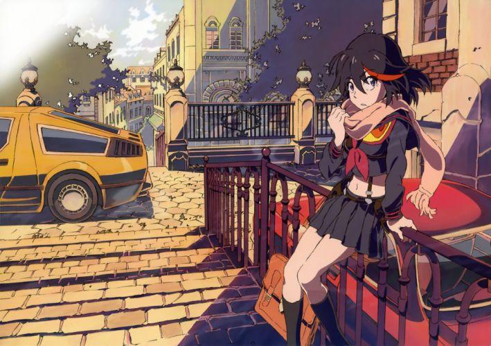 black hair building city clouds kill la kill matoi ryuuko navel red hair scarf seifuku senketsu socks tree wallpaper