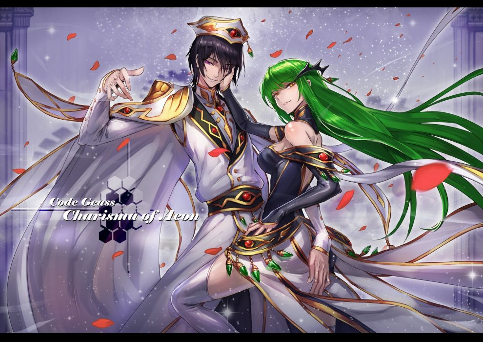 Black Hair Cape Cc Code Geass Green Hat Lelouch Lamperouge Petals Purple Eyes Ryuuzaki Itsu