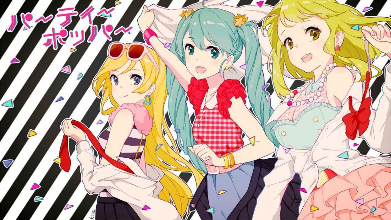 blonde hair blue hair green hair gumi hatsune miku kise (swimmt) lily (vocaloid) sunglasses vocaloid wallpaper