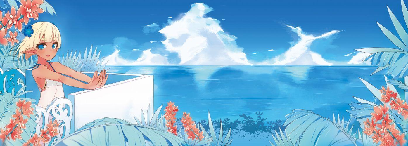 blonde hair blue eyes clouds dualscreen flowers maze (gochama ze gohan) original short hair sky water wallpaper