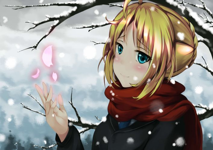 blonde hair blue eyes fate stay night petals saber scarf short hair snow st520pm tree winter wallpaper