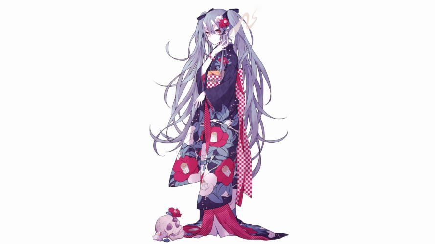 blue hair demon flowers hatsune miku horns japanese clothes kimono long hair moco (chaton315) red eyes skull twintails vocaloid wallpaper