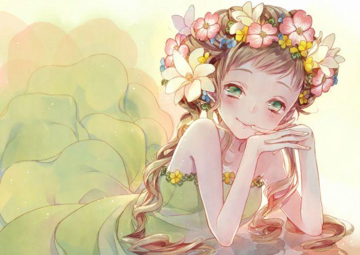 blush brown hair dress flowers green eyes long hair mikuni (mikunik) original wallpaper