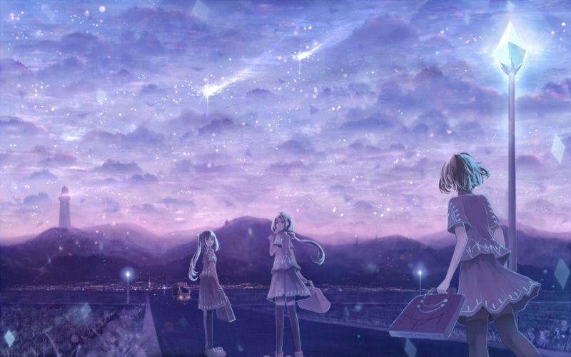 bou nin clouds dress original ponytail scenic sky stars wallpaper
