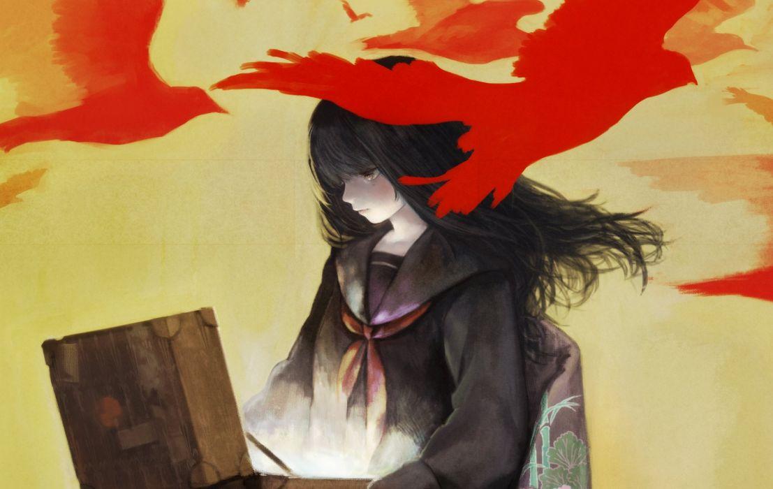 Birds Takeji Anime Girls original     f wallpaper
