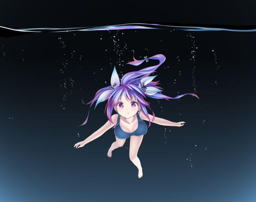 bubbles i-19 (kancolle) kantai collection ninnzinn purple eyes purple hair school swimsuit swimsuit underwater water wallpaper