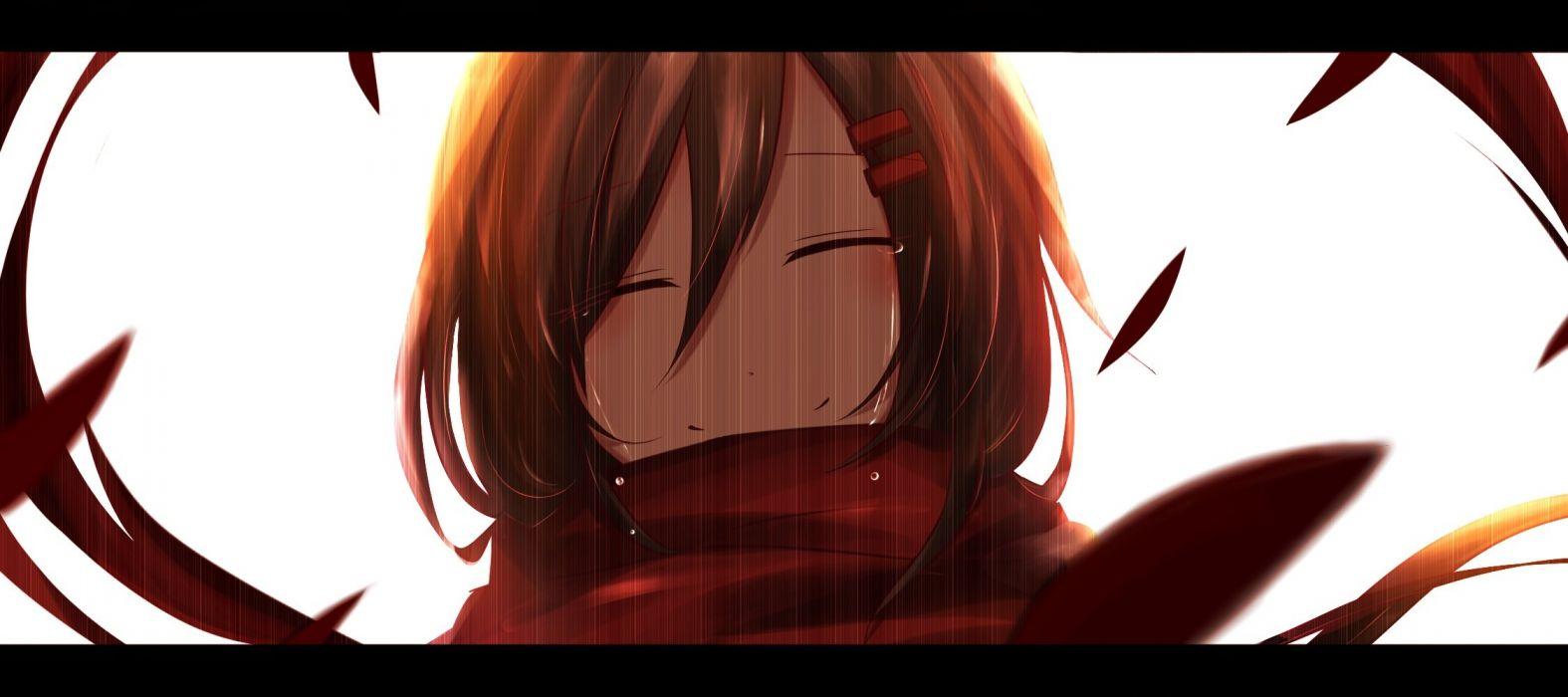 brown hair kagerou project kiriya black tateyama ayano tears wallpaper