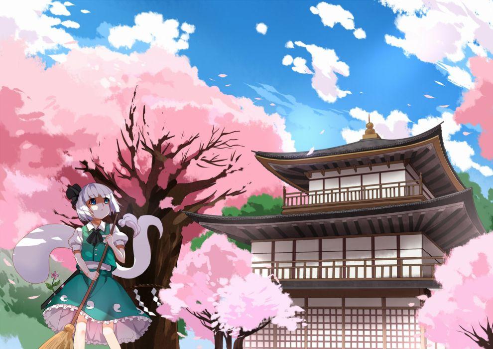 building cherry blossoms greetload konpaku youmu myon touhou wallpaper
