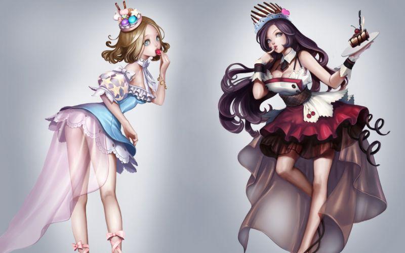Cake Sweets Chuuka Manjuu Hat Dress Anime Girls original f wallpaper