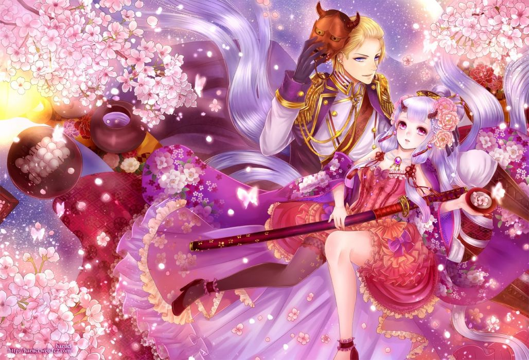 cherry blossoms dress haruci horns katana male mask necklace original sword weapon wallpaper