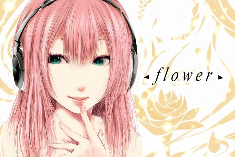 close green eyes headphones nico nico singer original pink hair torn flipper wallpaper