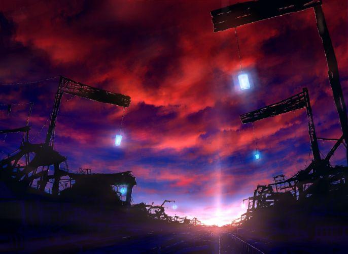 clouds dark mks nobody original ruins scenic silhouette sky sunset wallpaper