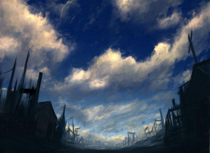 clouds cross mks nobody original ruins scenic sky wallpaper