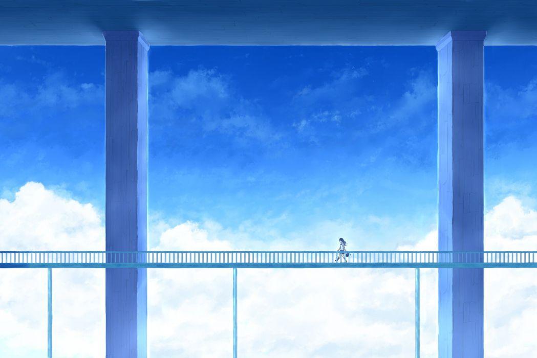 clouds long hair mks original scenic seifuku skirt sky wallpaper